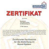 Zertifikat Firma Remmers